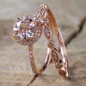 NEW 18K Rose Gold Pink&White Diamond 2P Ring Set